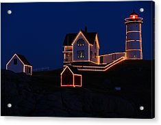 Christmas At Nubble Acrylic Print by Andrea Galiffi