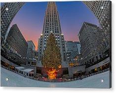 Christmas At Rockefeller Center In Nyc Acrylic Print by Susan Candelario