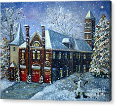 Christmas At The Fire House Acrylic Print