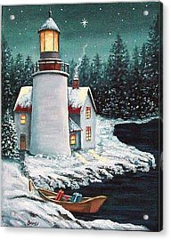 Christmas At The Light Acrylic Print by Fran Brooks