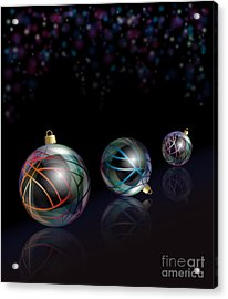 Christmas Baubles Reflected Acrylic Print by Jane Rix