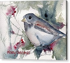 Acrylic Print featuring the painting Christmas Birds 01 by Anne Duke