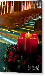 Christmas Candles At Church Art Prints Acrylic Print by Valerie Garner