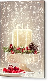 Christmas Candles Acrylic Print by Amanda Elwell
