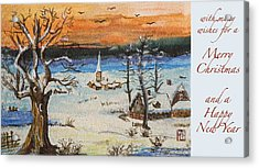 Acrylic Print featuring the painting Christmas Card Painting by Peter v Quenter
