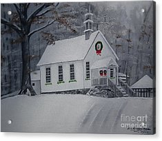 Acrylic Print featuring the painting Christmas Card - Snow - Gates Chapel by Jan Dappen