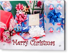 Acrylic Print featuring the photograph Christmas Presents On Artificial Snow by Vizual Studio