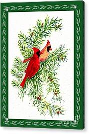 Christmas Cardinals Acrylic Print by Marilyn Smith