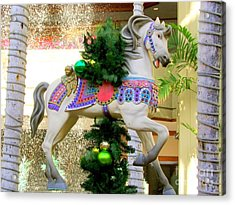 Christmas Carousel Horse With Pine Branch Acrylic Print