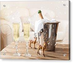 Christmas Champagne Acrylic Print by Amanda Elwell