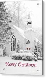 Historic Church Oella Maryland - Christmas Card Acrylic Print by Vizual Studio