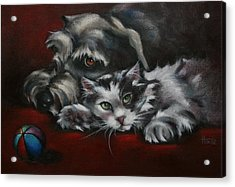 Acrylic Print featuring the painting Christmas Companions by Cynthia House