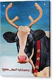 Christmas Cow Acrylic Print by Laura Carey