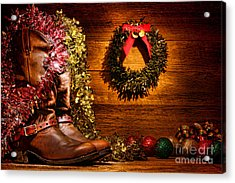 Christmas Cowboy Boots Acrylic Print by Olivier Le Queinec
