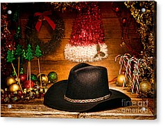 Christmas Cowboy Hat Acrylic Print by Olivier Le Queinec