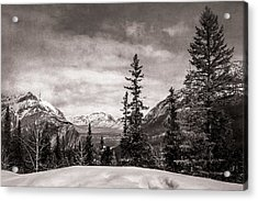 Christmas Day In Banff Bw Acrylic Print