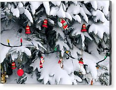 Christmas Decorations In Snow Acrylic Print by Elena Elisseeva