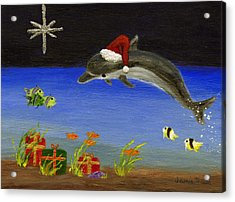 Christmas Dolphin And Friends Acrylic Print by Jamie Frier