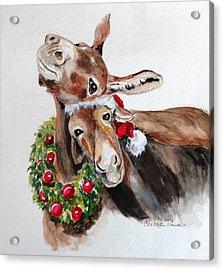 Christmas Donkeys Acrylic Print by Carole Powell