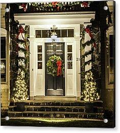 Acrylic Print featuring the photograph Christmas Door 2 by Betty Denise