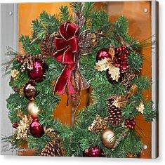 Acrylic Print featuring the photograph Christmas Door Wreath by Ann Murphy
