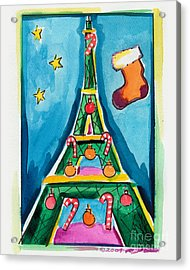 Christmas Eiffel Tower Painting Acrylic Print