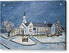 Christmas Eve At St. Jude Church Acrylic Print by Rita Brown