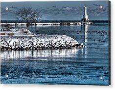 Christmas Eve Harbor Acrylic Print by Jeffrey Ewig