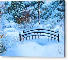 Christmas Eve Storm And The Little Garden Bridge Acrylic Print
