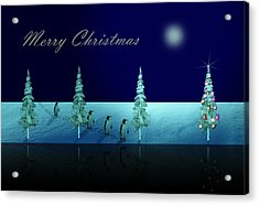 Christmas Eve Walk Of The Penguins  Acrylic Print