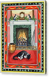 Christmas Fire Acrylic Print by Lavinia Hamer