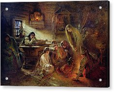 Christmas Fortune Telling Oil On Canvas Acrylic Print by Konstantin Egorovich Makovsky