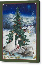 Christmas Geese Acrylic Print by Lynn Bywaters