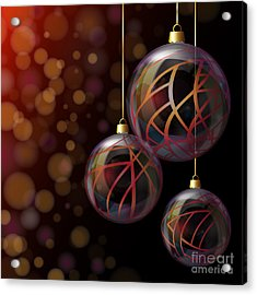 Christmas Glass Baubles Acrylic Print by Jane Rix