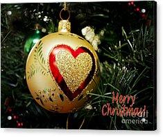 Christmas Gold Ball With Heart And Greeting Acrylic Print
