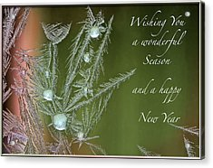 Acrylic Print featuring the mixed media Christmas Greeting Card Ice Flowers by Peter v Quenter