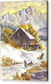 Acrylic Print featuring the painting A Winter Wonderland Part 1 by Carol Wisniewski