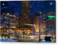 Christmas In Downtown Cleveland Acrylic Print