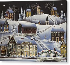 Christmas In Fox Creek Village Acrylic Print by Catherine Holman