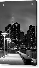 Christmas In Nyc Black And White Acrylic Print by JC Findley