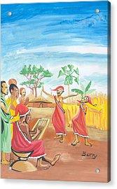 Acrylic Print featuring the painting Christmas In Rwanda by Emmanuel Baliyanga