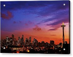 Christmas In Seattle Acrylic Print by Benjamin Yeager