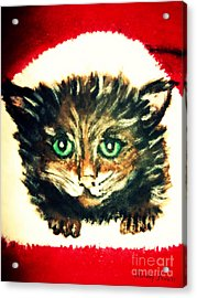 Acrylic Print featuring the painting Christmas Kitten  by Mindy Bench