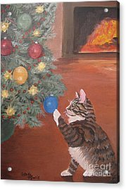 Christmas Kitty Cat Acrylic Print