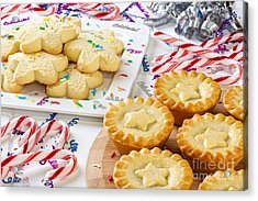 Christmas Mince Pies Cookies Candy Canes Acrylic Print by Colin and Linda McKie