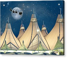 Christmas Night At Denver International Airport Acrylic Print by Juli Scalzi
