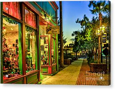 Sunset Christmas Store Acrylic Print by Paula Porterfield-Izzo