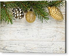 Christmas Ornaments On Fir Branch Acrylic Print by Elena Elisseeva