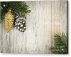 Christmas Ornaments With Pine Branches Acrylic Print by Elena Elisseeva