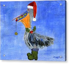 Christmas Pelican Acrylic Print by Jamie Frier